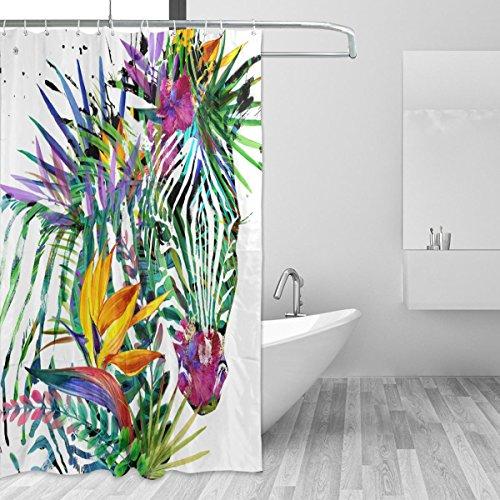 jstel Zebra Exotic Tropical Plant Duschvorhang Schimmelresistent & Polyester-Wasserdicht-182,9x 182,9cm für Home Extra Lang Badezimmer Deko Dusche Bad Vorhänge Liner mit 12Haken