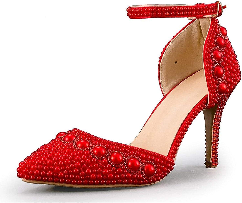 Qiusa Frauen Spitz Knöchelriemen Friesen Friesen Friesen Hochzeit Besondere Anlässe Schuhe (Farbe   rot-9cm Heel, Größe   4.5 UK)  3b92c5
