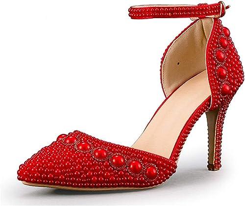 Hhor Sangle de de Cheville Bout Pointu pour Femme Perles Rouge Mariage Chaussures Occasion spéciale UK 2 (Couleuré   -, Taille   -)  promotions promotionnelles