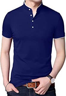 Plain Mens Henley Long Sleeve Shirt - Black, Red & Navy Soft Cotton Golf Polo Short Sleeves Tees