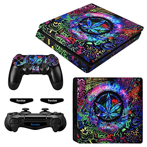 eXtremeRate Full Set Faceplate Skin Decals Stickers and 2 Led Lightbar for Playstation4 Slim/PS4 Slim Console & 2 Controller Decal Covers for Dualshock 4 PS4 - Psychedelic Cannabis