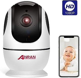 Cámara WiFi Interior 1080P inalámbrica de seguridad para el hogar para bebé cámara de mascotas con detección de movimiento visión nocturna de audio de 2 vías 24 G WiFi no incluye tarjeta TF ANRAN