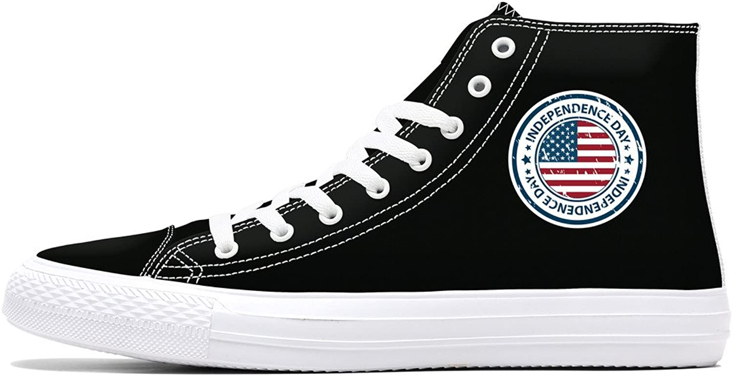 FIRST DANCE Independence Day Flag Print Women Black Canvas Lace-up High Top Fashion Sneaker