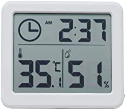 Indoor Hygrometer Thermometer, Digital Temperature,Humidity and time Monitor with Large LCD Screen (3.2 X 2.8 Inch)(Off Wh...