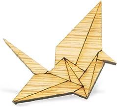 YUTTALIA 和風 鶴 ピンバッチ 天然木 アクセサリー 折り鶴 ナチュラル 木製 ピンバッジ 木目 ピンズ 鳥 ブローチ バッチ