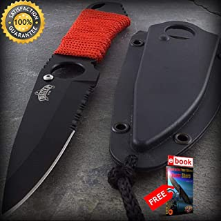 6.75'' TACTICAL MINI NECKLACE SHARP KNIFE + LANYARD Boot Neck Pocket Fixed Blade Combat Combat Tactical Knife + eBOOK by Moon Knives