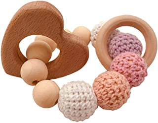 eroute66 Wooden Teether Baby Gym Rattle Teether Natural Raw Crochet Beads Toy Baby Teething Ring Chew Toy Hearts