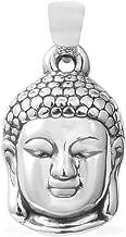 925 Sterling Silver Unisex Meditation fortune Tibetan Buddha Head Charm Prayer Religious Pendant Jewelry for Women (Carved/Hematite)