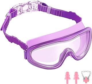 AEOSBIK Kids Swim Goggles, Wide Vision UV Protection Anti-Fog Swimming Goggles for Children Ages 3-15, Triathlon Equipment Swim Mask Glasses