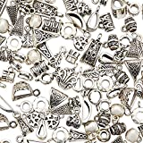 Bright Creations Silver Charms for Jewelry Making, Funky Abstract Pendants (0.25-0.5 in, 150 Pieces)