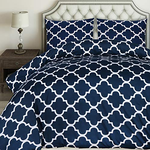Utopia Bedding Printed Duvet Cover Set - Brushed Microfibre Duvet Cover with 2 Pillowcases (Double, Navy Blue)