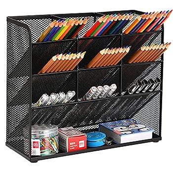 Marbrasse Mesh Desk Organizer Multi-Functional Pen Holder Pen Organizer for desk Desktop Stationary Organizer Storage Rack for School Home Office Art Supplies  Mesh Pen Holder