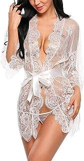 Erótica Kimono de Encaje Transparente con Cinturón Satén, Sexy Conjunto de Lencería con Mangas Largas Ropa Interior de Dormir Camisón Traje de Baño para Mujer Damas + Tanga G-String