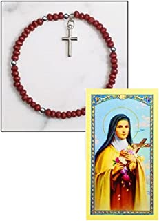 St Saint Theresa of Little Flower Rose Scented Hand Rosary Blessed Laminated Italian Holy card with Gold Accents