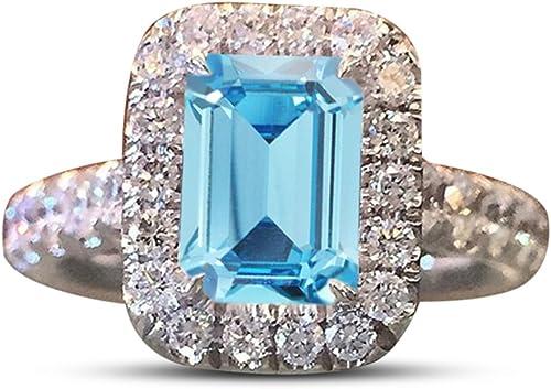 Vorra Fashion Smaragdschliff sim-diamond Damen-mit Akzenten Solitaire Engagement Ring