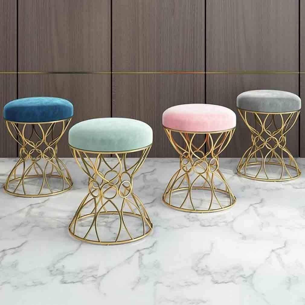 ZWH-Chaise de Salle à Manger Chaises de Bureau Ronde Coiffeuse Tabouret en Acier Robuste et Coussin en Tissu Lisse Confortable, 38 X 38 X 45 cm (Color : C) A