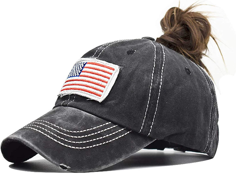 INOGIH Women American Flag Ponytail Hat Embroidery Washed-Cotton Messy Bun Baseball-Cap Adjustable