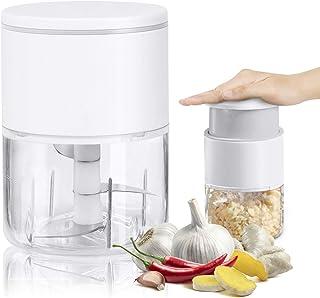 Picadora Ajo Manual,310ml Mini Trituradora de Ajo de Hoja de Acero Inoxidable,Alimentos Machacador para Verduras,Cebolla,N...