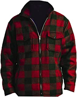 Men's Heavy Warm Fleece Lined Zip Up Buffalo Plaid Jacket