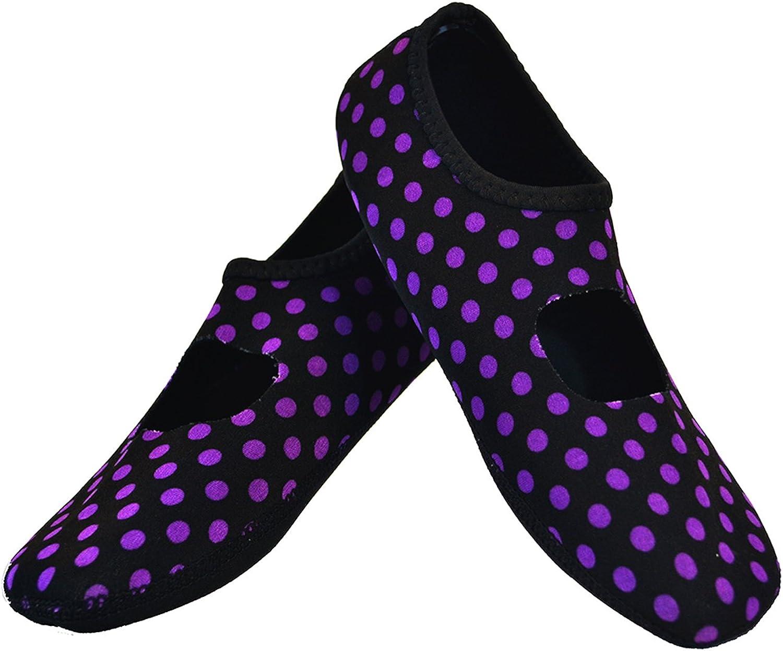 NuFoot Mary Janes Women's shoes, Best Foldable,Flexible Flats, Slipper Socks, Travel Slippers, Exercise shoes, Dance shoes, Yoga Socks, House shoes, Indoor Slippers, Black Purple Polka Dots, Medium