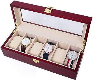 ECSWP SWGNSMQP Boîte à Bijoux - Coffret Montre en Bois boîte d'emballage d'affichage Boîte Verre Montre Boîte de Rangement...