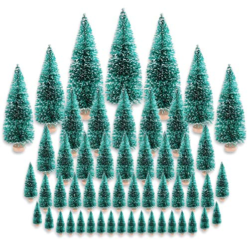 Etmact 48 Pieces Mini Pine Trees Set Sisal Snow Frost Trees with Wood Base Bottle Brush Trees...