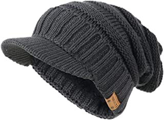 Ruphedy Mens Visor Beanie Knit Hat Winter Warm Thick Fleece Lined Newsboy Cap B5042
