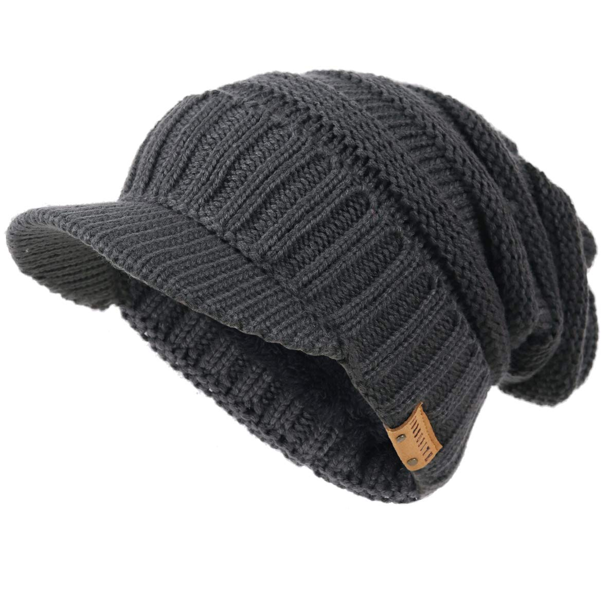 MB CAPS Classic Peaked Ribbed Beanie Knitted Cap HAT 8 Colours