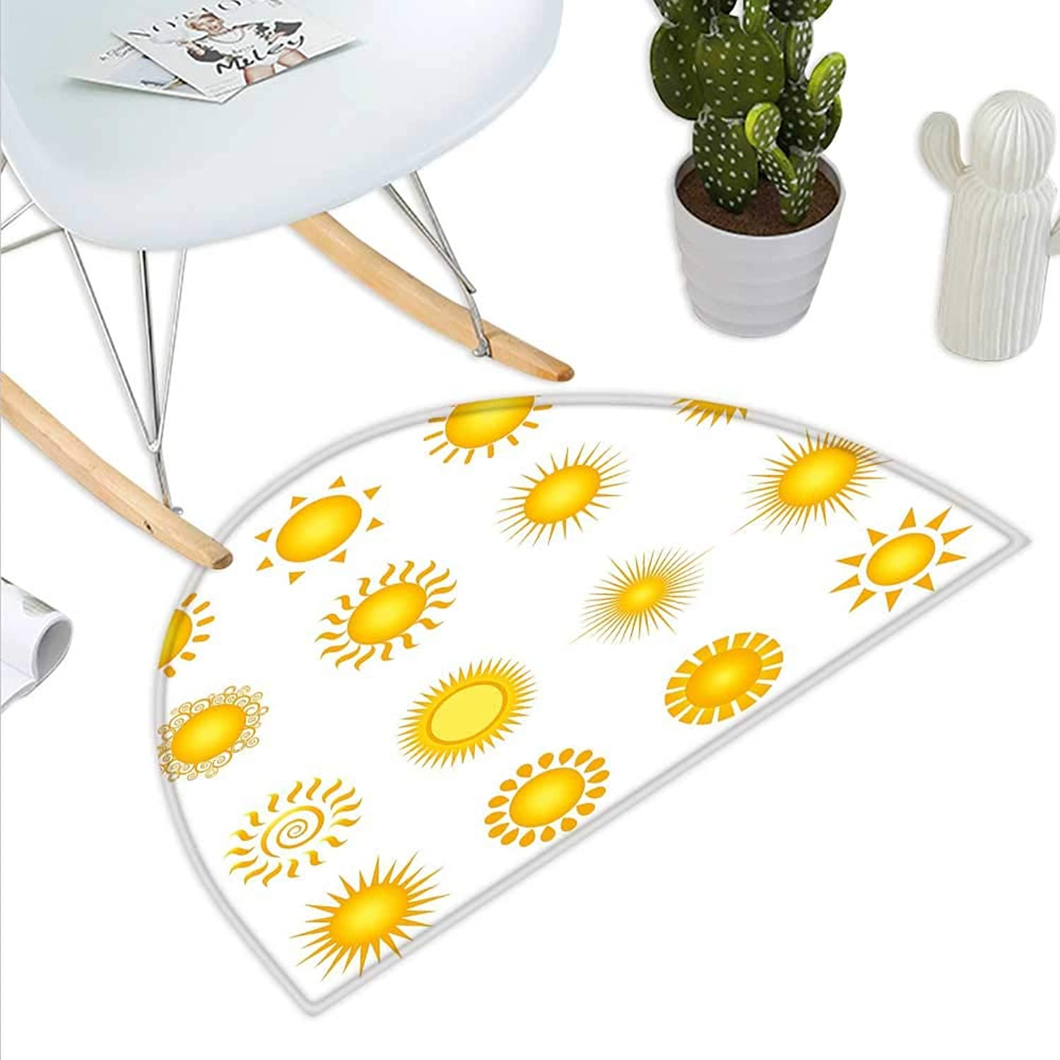 Yellow and White Semicircle Doormat Various Different Sun Icons Summer Hot Warm Weather Morning Daytime Halfmoon doormats H 31.5  xD 47.2  Marigold White