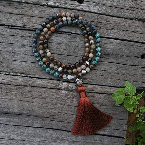 8Mm Natursteinperlen Kaffee Onyx Afrikanischer Türkis Labradorit Japamala Sets Spiritueller Schmuck Meditation 108 Mala Perlen