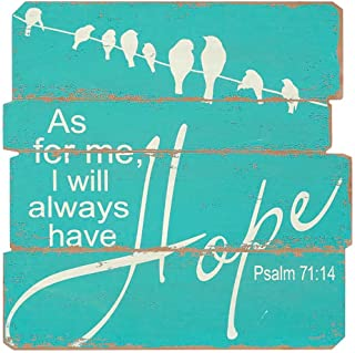 Aqua Always Have Hope Birds on a Wire 19 x 19 Wood Plank Style Wall Sign Plaque