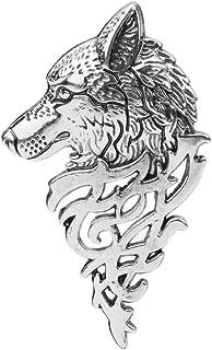 Xuniu Broche de Moda Broche, Retro Europa Insignia de la Cabeza del Lobo Broche de Solapa Pin Hombres Mujeres Camisa Traje...