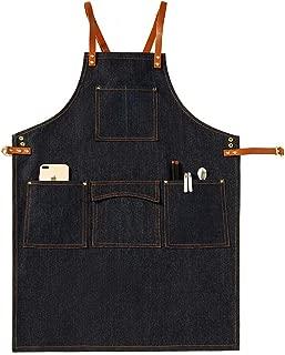 Landy Denim Adjustable Kitchen Chef Apron, Heavy Duty Jean Bib Apron with Pocket & Cross-Back Straps for Salon Barber Hairdressers BBQ Housework (Black C1)
