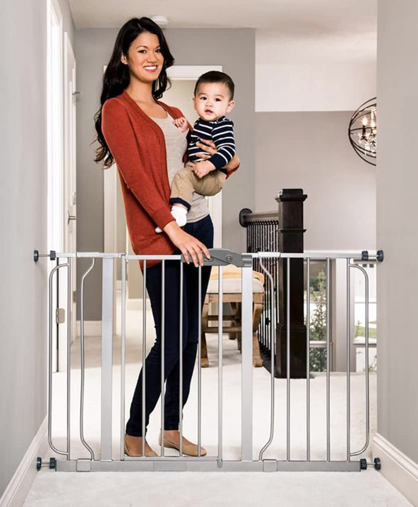 Regalo Easy Step 49-Inch Extra Wide Baby Gate, Includes 4-Inch and 12-Inch Extension Kit, 4 Pack of Pressure Mount Kit and 4 Pack of Wall Mount Kit, Platinum