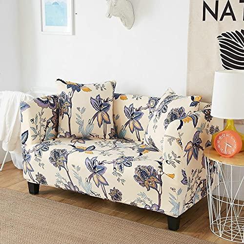 Funda elástica para sofá Protector para Mascotas Fundas de sofá elásticas con Estampado Floral de 3 y 4 plazas para Sala de Estar, Fundas de sofá en Forma de L, Fundas para sillas, 2 Piezas