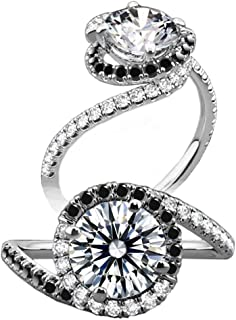 Diamonbella 10 Hearts 10 Arrows 81 Facets 2 Carats Pave Spiral Halo Black & White Simulated Diamond Ring 925 Silver Platinum Plated