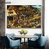 KWzEQ Imprimir en Lienzo Cartel de Arte de Pared de Pintura al óleo Vintage y Fotos para Sala de estar30x45cmPintura sin Marco