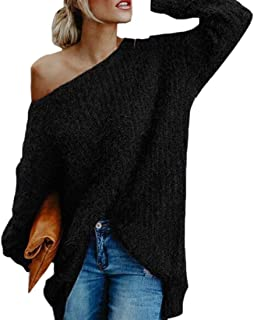Womens Oversized Sweaters Pullover Off The Shoulder Long Sleeve Sweater Knit Jumper