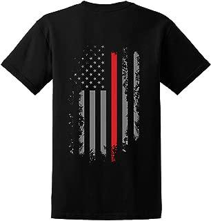 Men's Thin Red Line Firefighter Maltese Cross American Flag Shirt