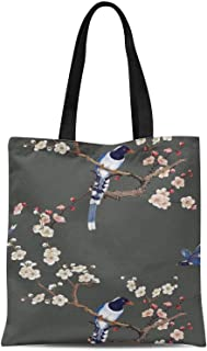 S4Sassy Blue Blossom & Pin Tailed Whydah Bird Printed Canvas Large Tote Bag for Beach Shopping Groceries Books 16x12 Inches