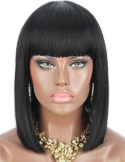 Kalyss Bob Short Hair Wig for Black Women Heat Resistant Yaki Synthetic Hair Women's Wig With Hair Bangs (Black 1B)