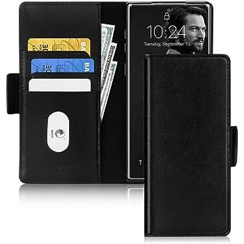 Galaxy Note10 Plus ケース ギャラクシー ノート10+ ケース FYY ハンドメイド [スキミング防止機能] 牛本革 手帳型 カード収納 スタンド機能 手触りがいい Qi充電対応 耐衝撃 二つ折り スマホケース [SC-01M 対応] (ブラック)