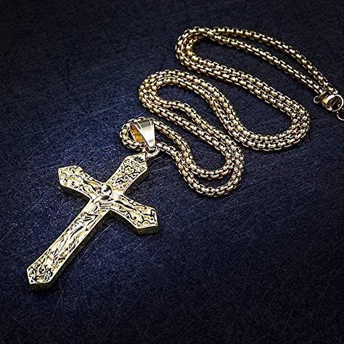 Yiffshunl Collar Nuevo Vintage Titanio Acero Pareja Jesús Cruz Acero Inoxidable Colgantes Collares Hombres Mujeres Collar Regalo