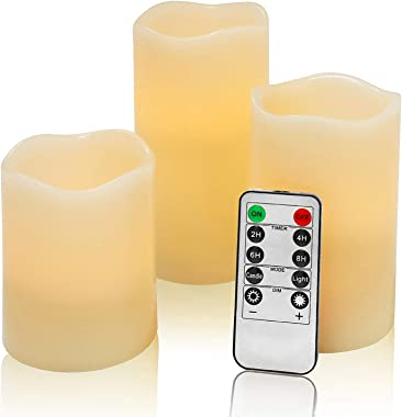 Flameless Flickering LED Battery Candles :Set of 3 Ivory Real Wax Pillar Operated Fake Faux Lights with Remote Control and Ti