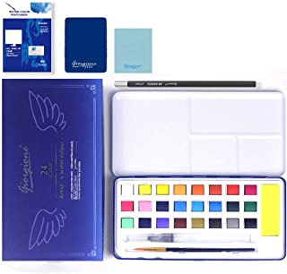 TTMOW Watercolor Paint Set 24 Colors Includes Paint Brush,Water Brush Pen, Portable Lightweight,Perfect Christmas Gift for Students,Beginners and Artists