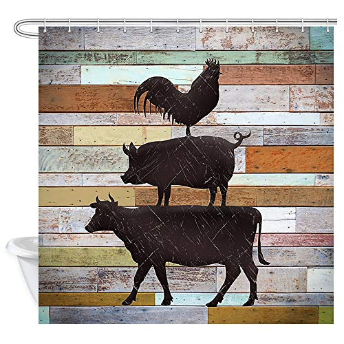 JAWO Rustikaler Duschvorhang, Bauernhof, Huhn & Schwein Muster auf Holzbrettern, Polyester-Stoff-Badevorhänge-Set mit Haken, 69 x 178 cm