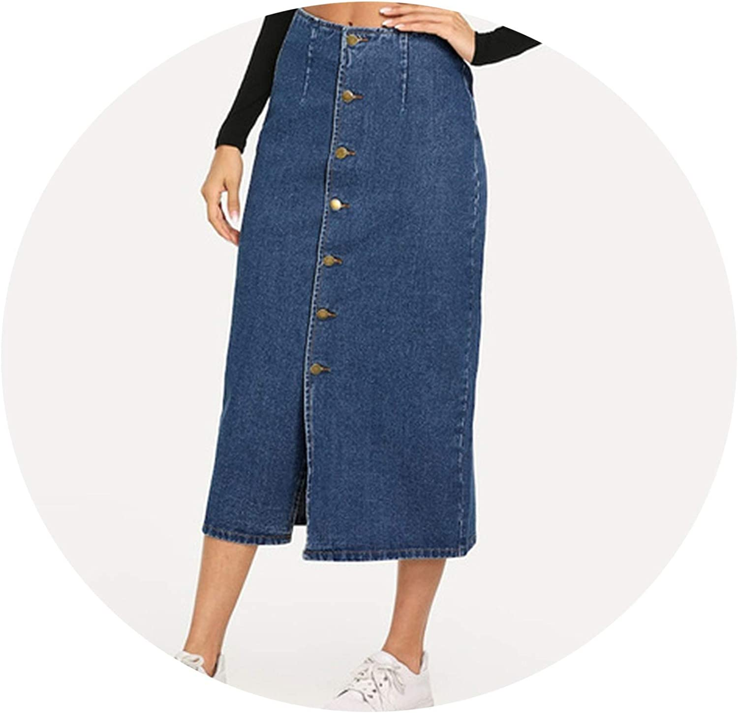 colorfulspace Slit Front Button Up Denim Shift Skirt Casual Mid Waist Women Morden Lady Street Wear Skirts
