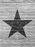 VIMODA Stern Jugendzimmer Wohnzimmer Teppich Grau Trendiger Kurzflor Teppich Stern Stylish Accessoire, Maße:120x170 cm - 2