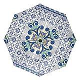 Paraguas de Viaje con diseño geométrico de Talavera, Compacto, Plegable, Reversible, para el Coche, Resistente al Viento, protección UV, Mango ergonómico, Apertura y Cierre automático, Color Morado