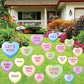 VictoryStore Yard Sign Outdoor Lawn Decorations: Valentine's Day Candy Heart - Yard Decoration with 20 candy hearts w/20 short stakes